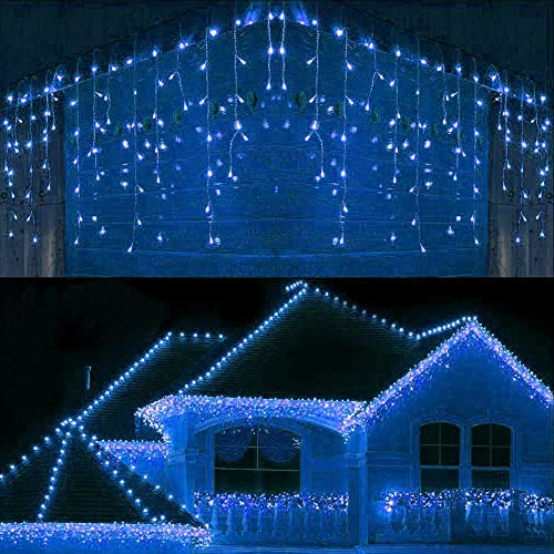 Lomotech LED Icicle Lights, 400 LED 26 Ft 8 Modes with 80 Drops Icicle Christmas Lights, Waterproof Connectable Outdoor Icicle String Lights for Holiday, Christmas, Wedding Decorations (Blue)