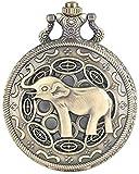 YOUZYHG co.,ltd 3D niedliche Lange Nase Elefantenfigur Retro Bronze Hohle Halskette Quarz Taschenuhr...