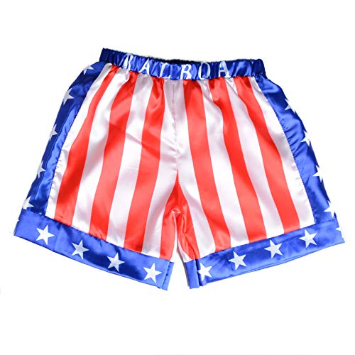 Kids Boxing Costume Rocky Balboa American Flag Shorts Italian Stallion Boys Wrestle Sports Trunks Red Apollo American, L