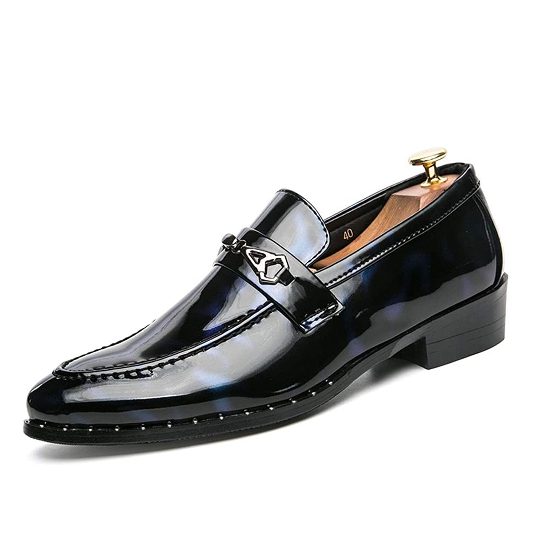 男士革靴 フォーマルシューズのメンズファッションオックスフォードカジュアルラウンドトゥパテントレザースリップ 個性な (Color : Black Blue, サイズ : 26 CM)