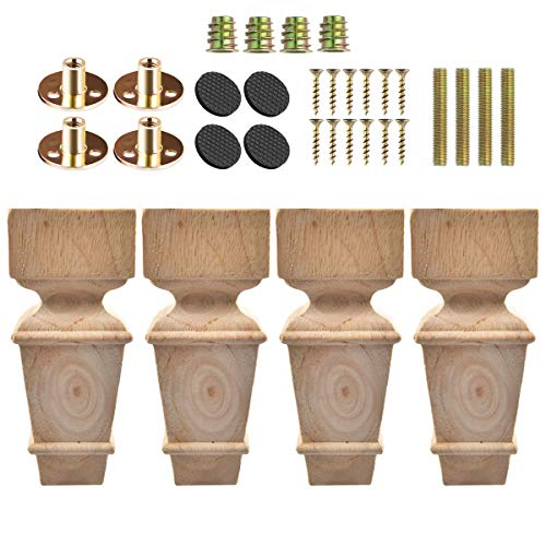 8 inch / 20cm Wooden Furniture Legs, La Vane Set of 4 Carved Geometry Solid Wood Unfinished Replacement Bun Feet with Mounting Plate & Screws for Sofa Cabinet Couch Table TV Stand