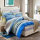 UOUL Juego de sábanas Ropa de Cama de algodón 4 Piezas Rayas Simples Azul Marino No se descolora Confort Dormitorio Juvenil XL King,Stripe-3,XL Full