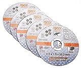 BGS 3935   Discos de corte para acero inoxidable   Ø 115 x 1,0 x 22,2 mm   5 piezas