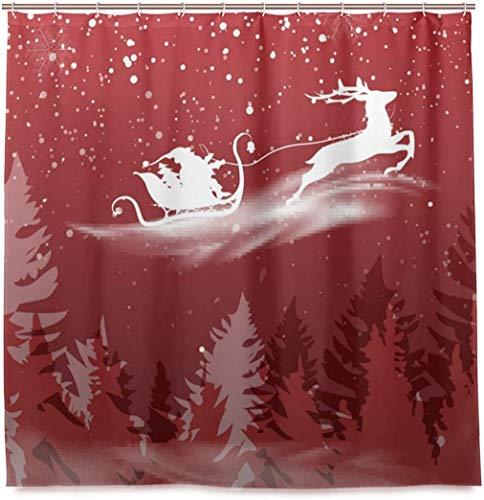Navidad Papá Noel con Reno Silueta Cortina de Ducha Tela de poliéster Impermeable Baño Curtian Decoración de baño