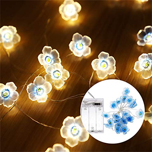 Luces LED con forma de flor de cerezo, funciona con pilas, divertidas luces LED para el banco del dormitorio, al aire libre (azul)