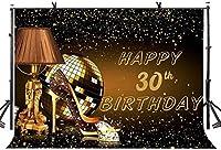 女性のための新しい10x7ftハッピー30歳の誕生日の背景キラキラゴールドの誕生日の背景30歳の誕生日パーティーの装飾用品フォトスタジオの小道具544