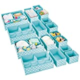 mDesign Juego de 16 Cajas organizadoras para Cuarto Infantil – Elegantes cestas de Tela en Varios tamaños – Organizadores para armarios de Fibra sintética Transpirable – Turquesa/Blanco