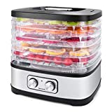 Seeutek Food Dehydrator Machine for Beef Jerky, Fruits, Vegetables Electric Dryer Machine with 5 BPA-free Trays, Adjustable Temperature Control, Recipe Book Included