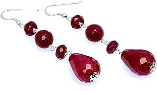 Orecchini con giada rossa, pendenti lunghi in argento 925, gioielli contemporanei, bijoux creati a mano, accessori moda donna