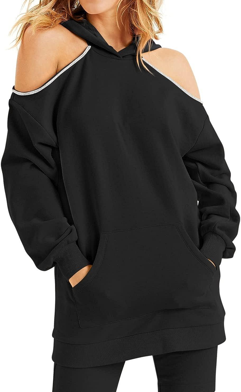 INC Womens Overd Hoodie Size Embellished-Trim Cold-Shoulder Black XS