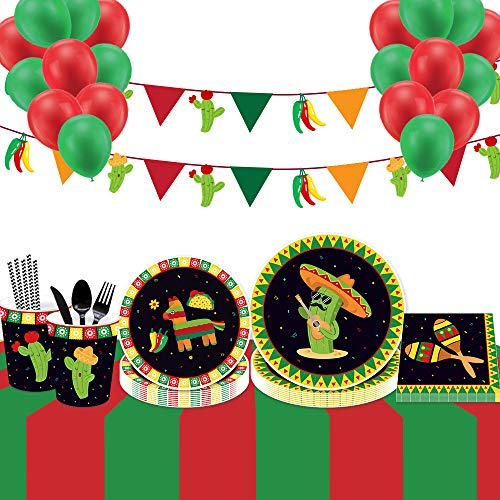 183 Pieces Mexican Party Supplies Set & Cactus Tableware Kit,Serves 16 - Perfect for Mexican Fiesta Theme Birthday Party Decorations- Includes Plates,Napkins,Cups,Straws,Utensils,Banner & 20 Balloons