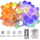 LED Globe String Lights, LEDGLE 32.8ft 100 LEDs Battery Powered Colorful Ball Fairy Lights with 8 Dimmable Lighting Modes, Remote and IP65 Waterproof for Bedroom, Garden, Christmas Tree, Wedding, Part