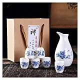 JHYS Set da Sake Giapponese Set da 7 Pezzi per Sake Design Dipinto a Mano Ceramica in Porcellana Tazze di Ceramica Tradizionale Artigianato Bicchieri da Vino Confezione Regalo (Colore : 2)