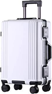 SMLCTY Carry On Suitcase,cabin Luggage,ABS+PC Mute Caster 4 Wheel Adjustable Aluminum Alloy Rod Aluminum Frame Password Lock Travel Trolley Case (Color : White, Size : 24 inch)