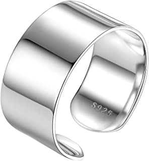 PROSTEEL 925 Sterling Silver Ring, Flat Plain Wide Band Ring Adjustable, Mens Womens Jewelry