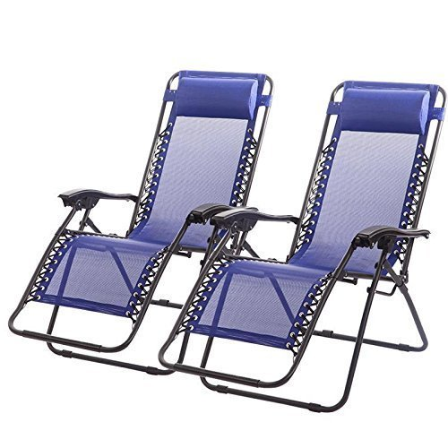 Zero Gravity Chairs Case of (2) Black Lounge Patio Chairs Outdoor Yard Beach (Blue)