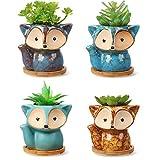 4 Stücke Süß Karikatur Keramik Blumentöpfe Fuchs Sukkulententöpfe mit Abflussloch und Bambus Tablett für Zuhause Büro Schreibtisch Dekoration, 1,8 Zoll Durchmesser(Fox Style)