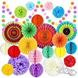 Fiesta Party Decorations, 25 Pcs Mexican Party Supplies Rainbow Paper...