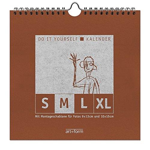 DO IT YOURSELF-KALENDER M Terrakotta (20x20cm): Kalendarium in einer Zeile mit Montageschablone für Fotos 9x13 und 10x15 cm, als Dauer- und Jahreskalender verwendbar