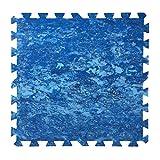 INTACTO Puzzle Protector Suelo Piscina, 9 Piezas de 500x500x5 mm. de Grosor (Azul Batik)