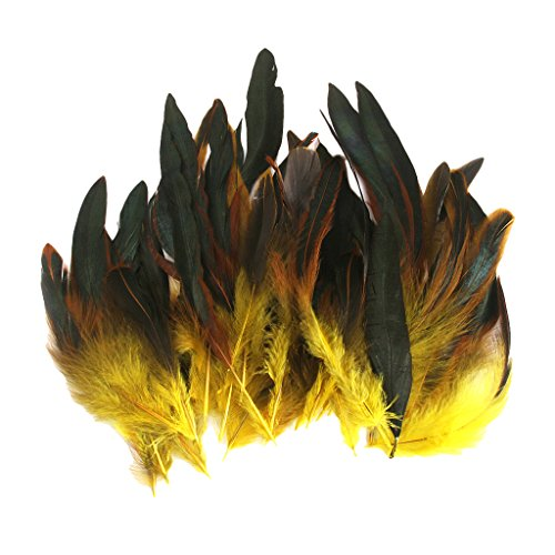 joyMerit 50 Piezas Hermosas Plumas de Gallo Franja Decoración Hogar Artesanía Bricolaje - Amarillo, tal como se describe