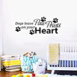 AnFigure Wall Decals for Kids, Wall Decals for Dogs, Quotes Puppy House Bedroom Living Room Positive Family Pet Pup Animal Sign Home Art Decor Vinyl Stickers Dogs Leave Paw Prints on Your Heart 23'x9'