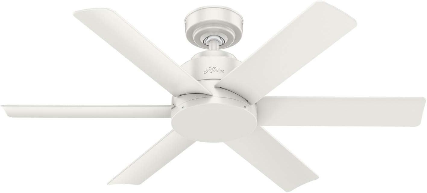 Hunter Fan Company 59614 Hunter Kennicott Indoor, Outdoor Ceiling Fan with Wall Control, 44, Fresh White