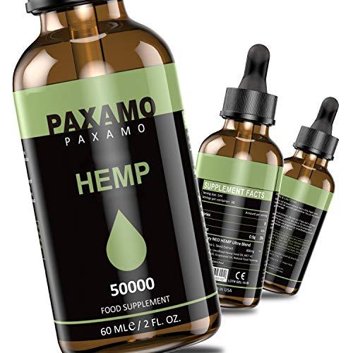 PAXAMO Goldenes Öl tropfen - echtes hanfsamenöl mit Omega 3-6, Vitamine & Mineralien I Natürlich, vegan, laktose- & glutenfrei(50000/60ml)