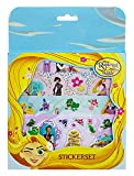 Disney-Rapunzel Juego de pegatinas – 4 hojas de pegatinas, 1 holograma, 1 adhesivo 3D en relieve, 2 pegatinas con diseño de Rapunzel, Flynn, Maximus, Pascal...
