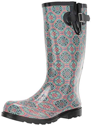 Nomad Women's Puddles Rain Boot, Pink/Mint Tile, 7 Medium US