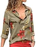 Chemise Femme Manche Longue Élégant Mousseline de Soie Blouse Rayé Chemisier Grande Taille Casual Classique Chic Boutonné Cov V Tunique Tee Tops Hauts T-Shirts (Fleur-Vert, M)