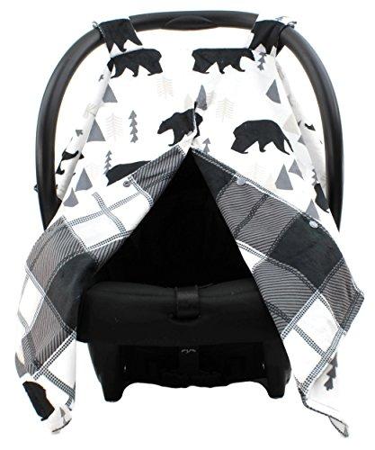 Dear Baby Gear Deluxe Car Seat Canopy, Custom Minky Print Black Bears, Black and Grey Plaid Minky