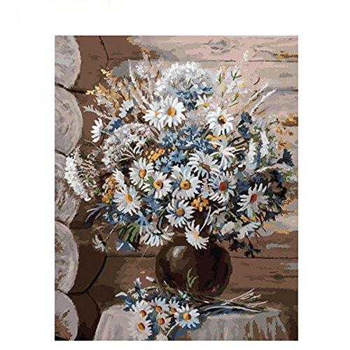 DIY Peinture à L'Huile par kit de Nombre, Peinture Paintworks Scène Cat Fleurs Art Mural Photo Dessin avec brosses de Noël Décor Décorations Cadeaux (sans Cadre), Coton, Lin, 5#, 40cm x 50cm