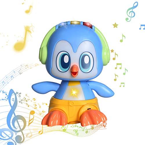 Musikalische pädagogische Spielzeug für Kleinkinder, Baby tanzen Spielzeug-Pinguin Walking Spielzeug Features verschiedene Modi, Lichter, Sounds, Crawling Spielzeug für 1 2 3 Jahre alte Kleinkinder