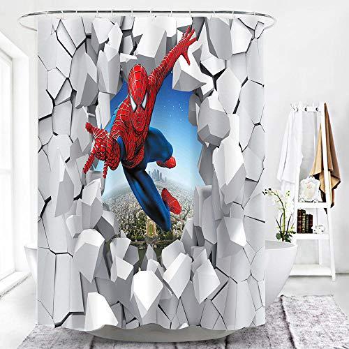 lxianghao Rideau Douche Anti Moisissure avec Crochets Rideau De Douche Tissu en Polyester Héros De Super Dieu Spiderman 3D Rideaux De Douche 220 X 180 Cm