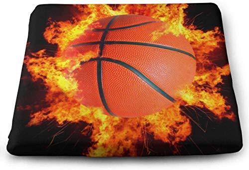 N/A Premium Sitzkissen aus Memory-Schaum, groß, brennendes Feuer, Basketball, schwarz, ideal für Holzküche, Esszimmerstühle, Büro, Autositz und Rollstuhl, 38,1 x 34,9 x 3,2 cm