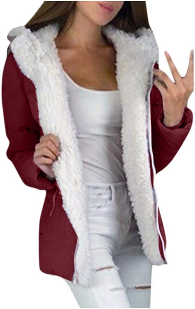 TRENDINAO 2019 Women Faux Shearling Jacket with Fleece Winter Thick Warm Hooded PaddedCoat with Zip Pocket