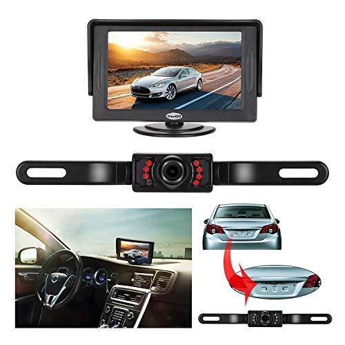 Backup Camera and Monitor Kit, 4.3' TFT LCD Rear View Mirror Monitor Screen+Backup CMOS Wide Angle License Plate Camera With 7 LED Night Vision
