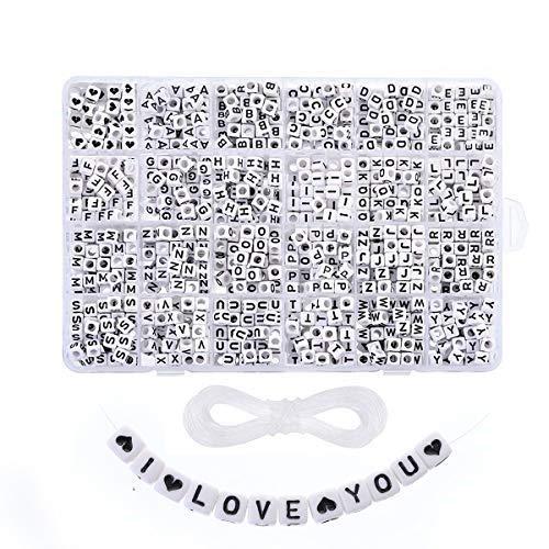 1250 Pz A-Z Lettere Perline Perline Artigianali con Lettere Cube Perline 6mm Artigianato di Gioielli per Bracciali Fai da Te per Fabbricazione di Gioielli Bracciali Collane Filo di Nylon 1250Pcs Nero