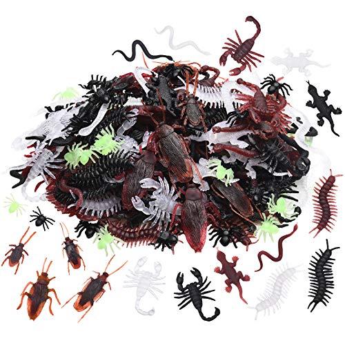 260 Insectos Realistas de Plástico de Halloween Juguetes de Broma de Truco Artificial Accesorios de Broma de Cucarachas Arañas Ciempiés Escorpiones de Brillar en Oscuridad Bichos Falsos de Brillo