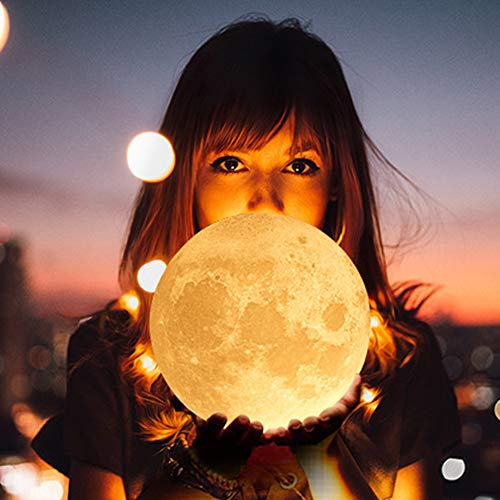Arfbear 3D Hanging Moon Lamp, 16 Colors LED Lunar Night Light with Wooden Holder, Remote and Touch Control, 4 Light Conversion Modes, USB Charging Moonlight Gift for Kids, Lovers in Any Festival 14cm