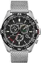 Citizen Eco-Drive Promaster Navihawk A-T Quartz Mens Watch, Stainless Steel, Pilot watch, Silver-Tone (Model: CB5840-59E)