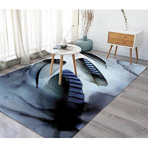 YQZS Teppich Schlafzimmer Teppich Orientteppich Dunkelblaue Stufenblätter Moderner, Luxuriöser, Super Weicher Touch,160X230Cm(63X90Inch)