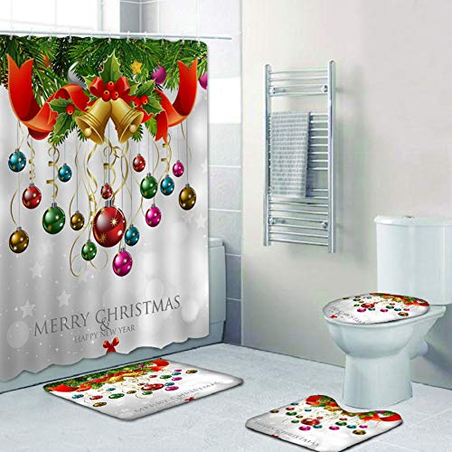 Qlans 4 Stück Weihnachten Badezimme Sets,Duschvorhang,Badematten,Toilettenmatte Sitzbezug, Contour Mat (8#)