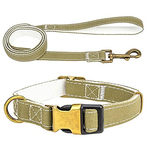 ZZCR Collar De Perro Mascota Collar Retráctil De Poliéster Collar De Perro Pequeño Y Mediano Collar De Perro Anti-Perdida Conjunto De Correa Verde S
