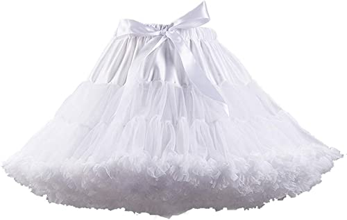XinChangShangMao Women's Elastic Waist Chiffon Petticoat Puffy Tutu Tulle Skirt Princess Ballet Dance Plinth