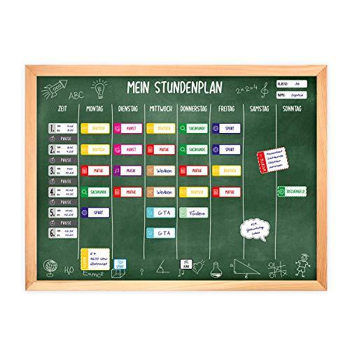 magnetischer Stundenplan Tafel grün mit 90 Magneten und Stift - abwischbar Wochenplaner Schule - ca. 40 x 30 cm