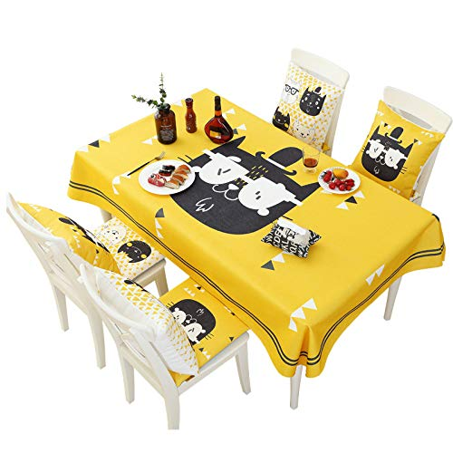 LMDY Home Decorative Tablecloth Yellow cartoon minimalist Style Christmas Parties, cotton linen waterproof Rectangle Dinner table decorationTablecloth for Kids Table140cm*200cm