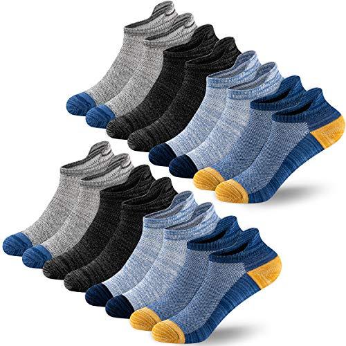 Newdora Sneaker Socken Herren, 8 Paar Kurze Halbsocken Quarter Baumwolle Unisex Socken, Atmungsaktiv Sport Lauf Knöchel Outdoor Socken, 43-46