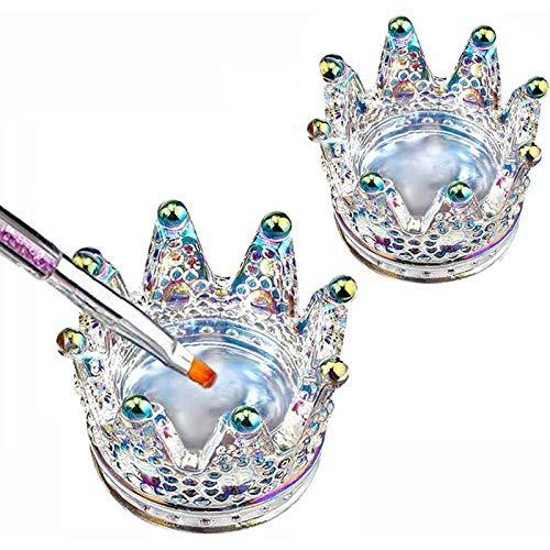 2PCS Nail Art Dappen Dish 2 in 1 Glass Dish for Nail Acrylic Liquid Powder–Nail Crystal Bowl/Glass Nails Cup/Nails Pen Holder, Crown Nails Glass Dish, Colorful Laser